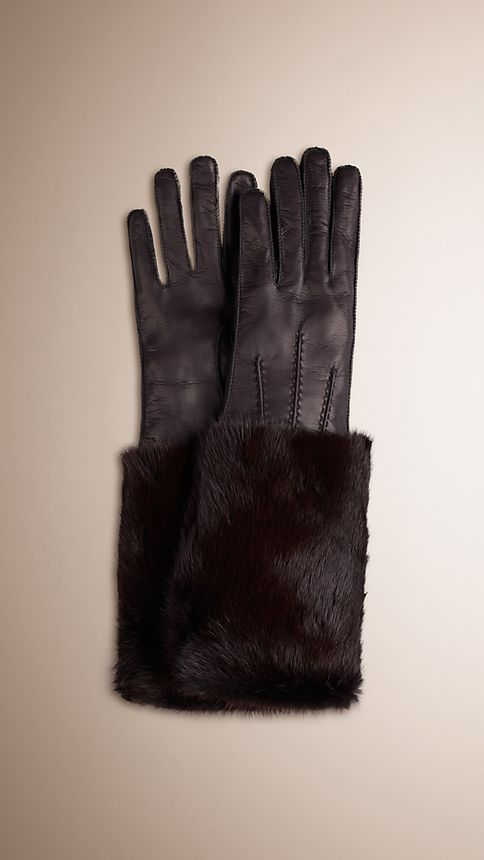 Oxblood Mink Detail Leather Gloves - Image 1
