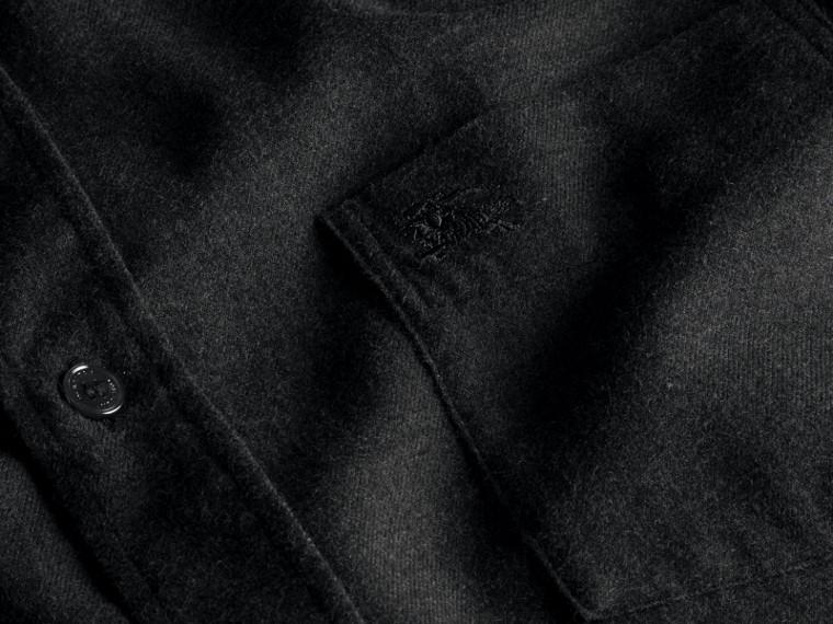 Nero fumo mélange Camicia in flanella di cotone con dettagli check Nero Fumo Mélange - cell image 1