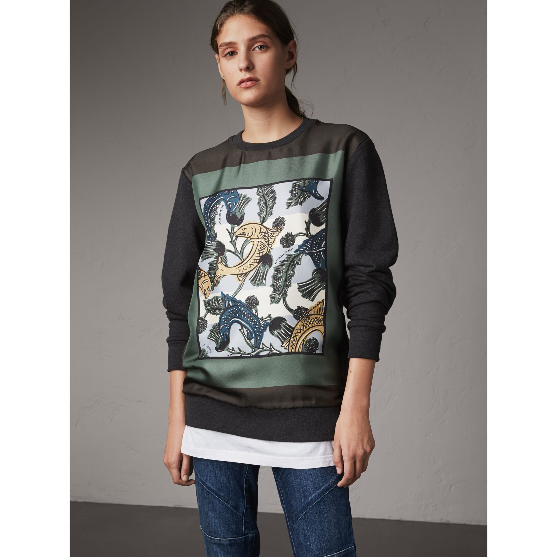 Unisex Beasts Print Silk Panel Cotton Sweatshirt in Charcoal Melange - Women | Burberry - gallery image 1