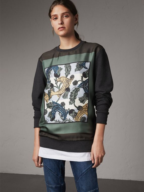 Unisex Beasts Print Silk Panel Cotton Sweatshirt in Charcoal Melange