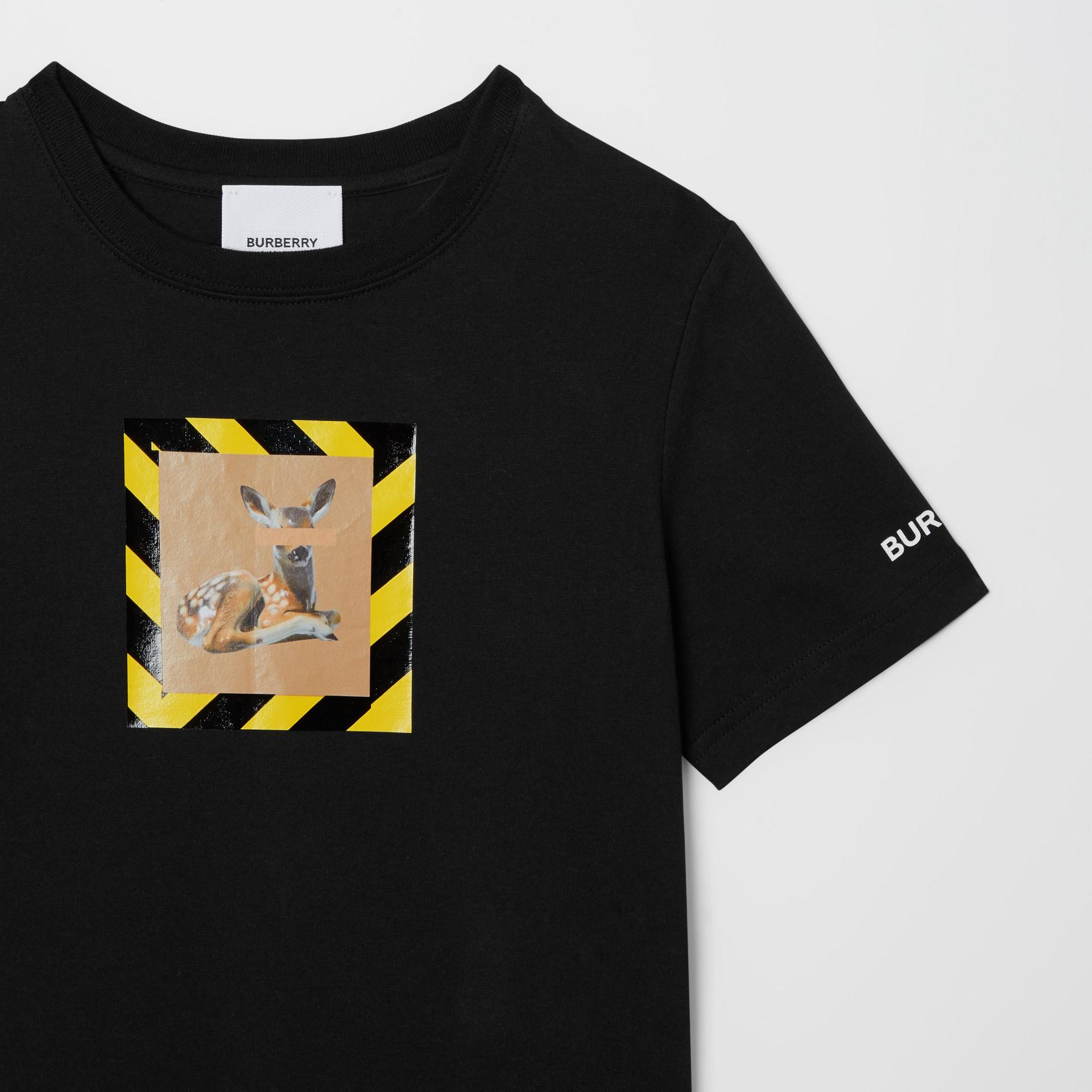 Deer Print Cotton T-shirt in Black   Burberry Australia - gallery image 5