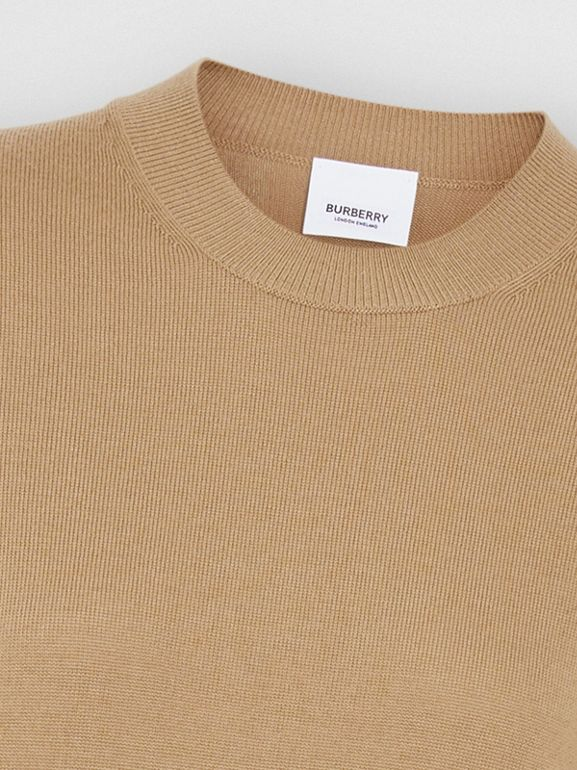 Short-sleeve Icon Stripe Detail Merino Wool Top in Camel - Women | Burberry - cell image 1