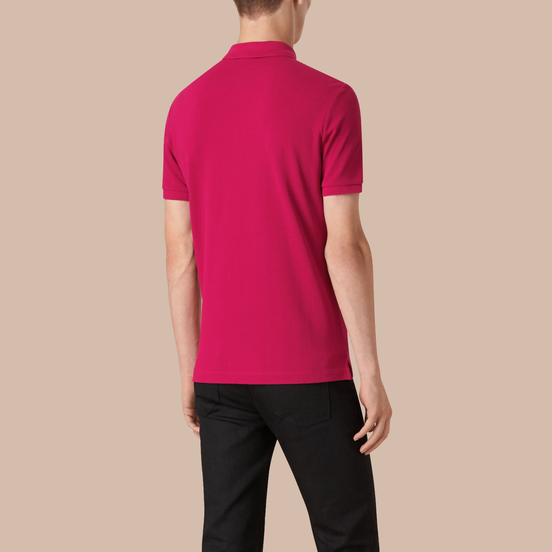 Check Placket Cotton Piqué Polo Shirt in Vibrant Fuchsia - gallery image 3