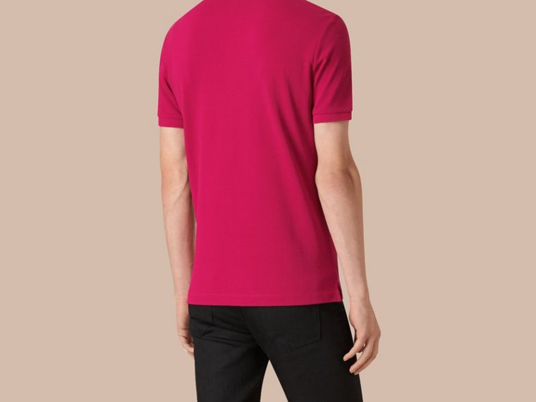 Check Placket Cotton Piqué Polo Shirt in Vibrant Fuchsia - cell image 2