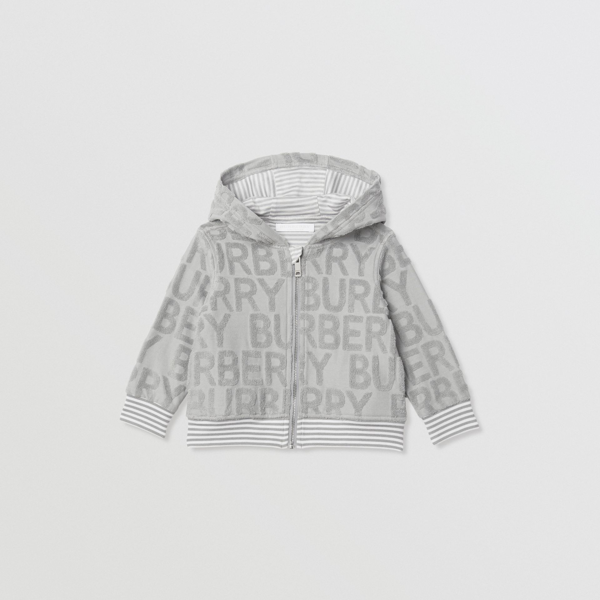 Logo Towelling Hooded Top in Pale Grey - Children | Burberry - gallery image 0