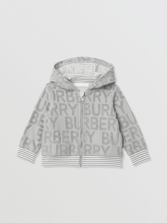 Logo Towelling Hooded Top in Pale Grey
