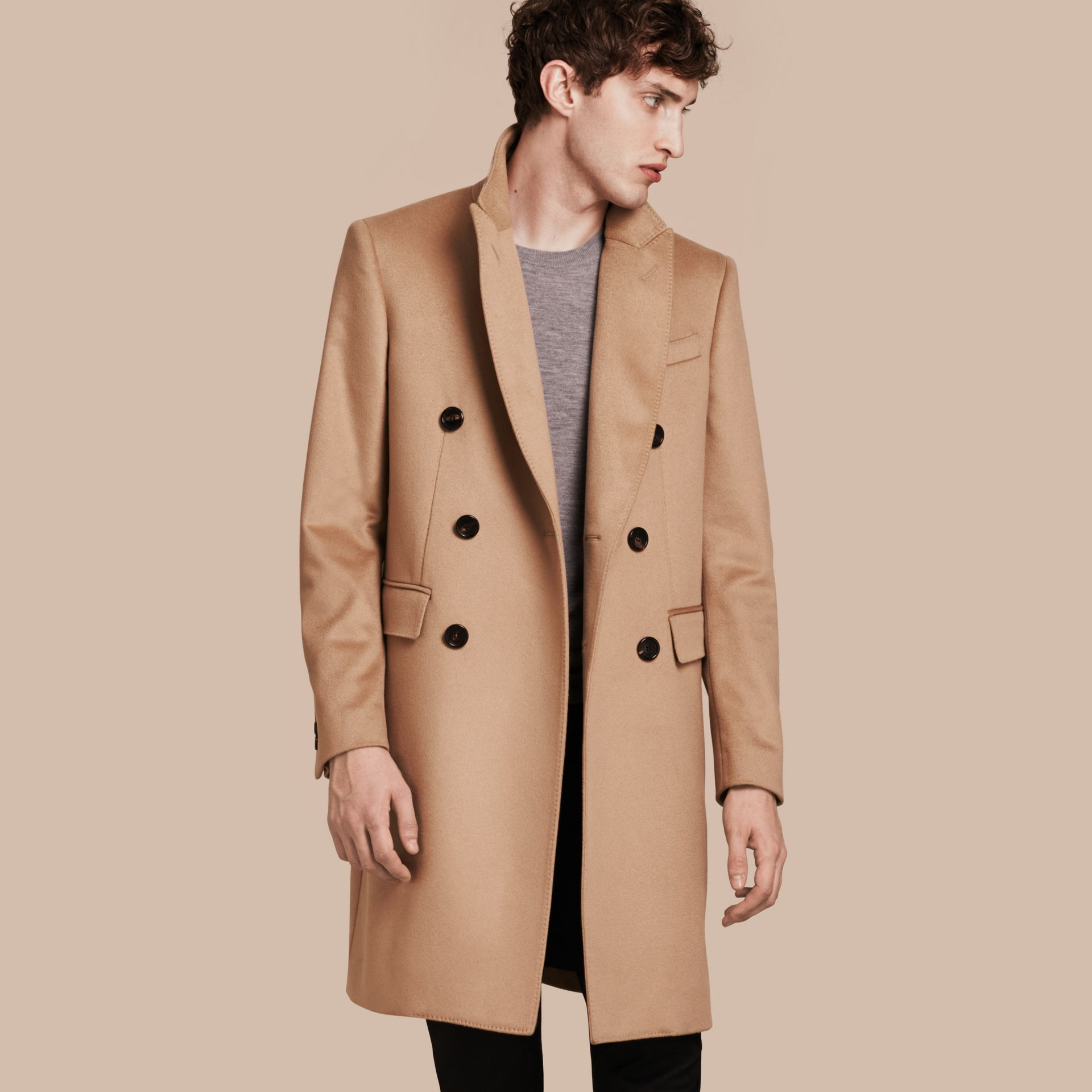 Camel Double-breasted Tailored Cashmere Coat - gallery image 1