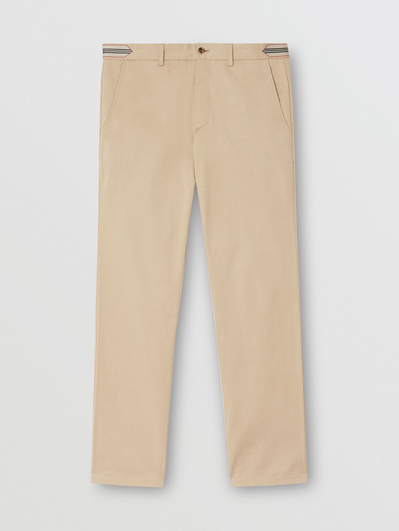 Classic Fit Icon Stripe Detail Cotton Satin Chinos in Soft Fawn