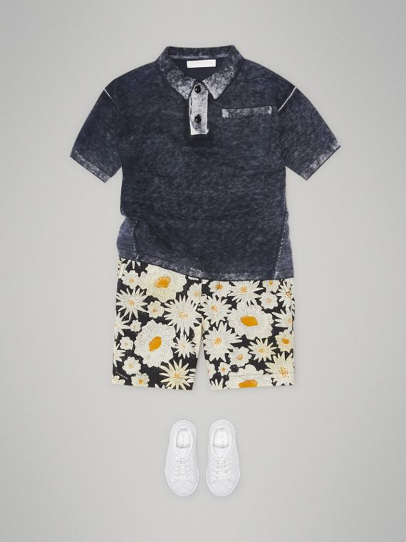 Daisy Print Cotton Chino Shorts in Black - Boy | Burberry - cell image 2