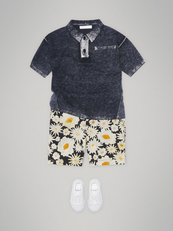 Daisy Print Cotton Chino Shorts in Black | Burberry - cell image 2