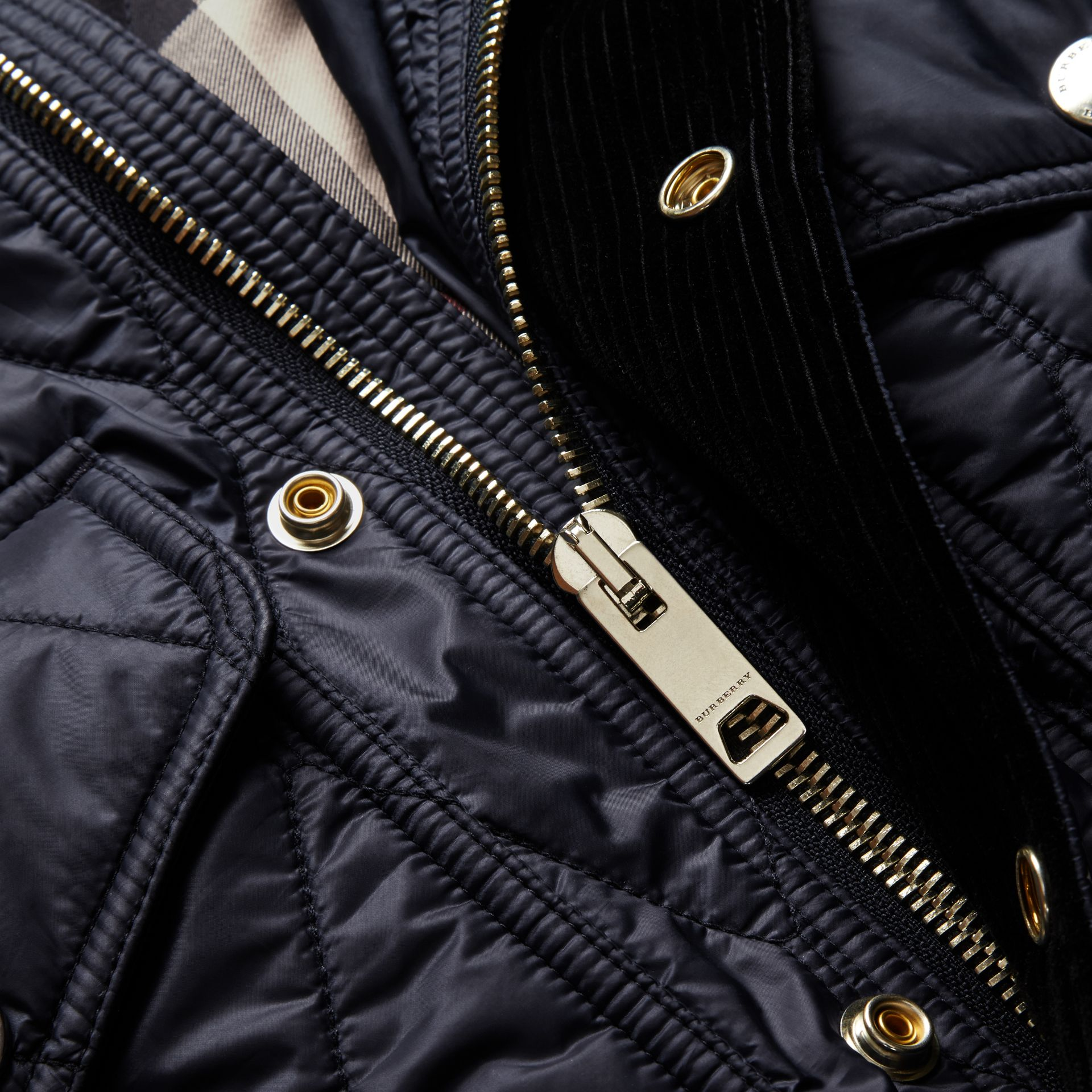 Diamond Quilted Field Jacket in Navy - gallery image 2