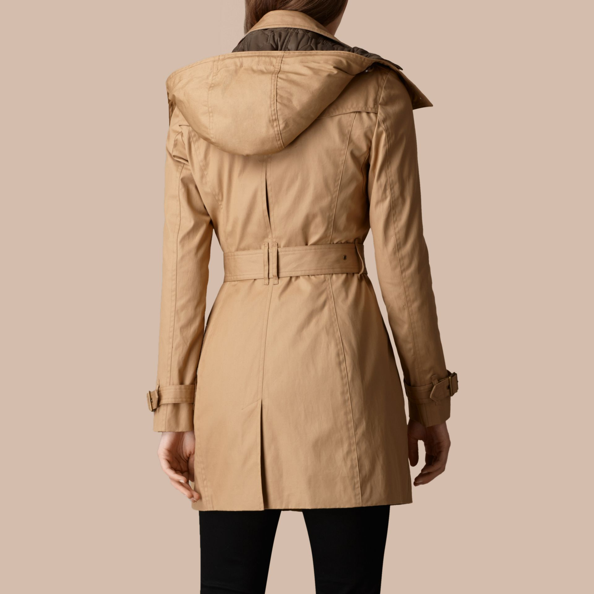 Light camel Hooded Cotton Trench Coat with Warmer Light Camel - gallery image 3