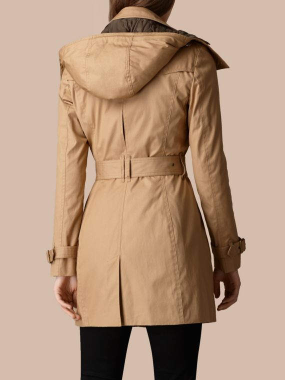 Light camel Hooded Cotton Trench Coat with Warmer Light Camel - cell image 2
