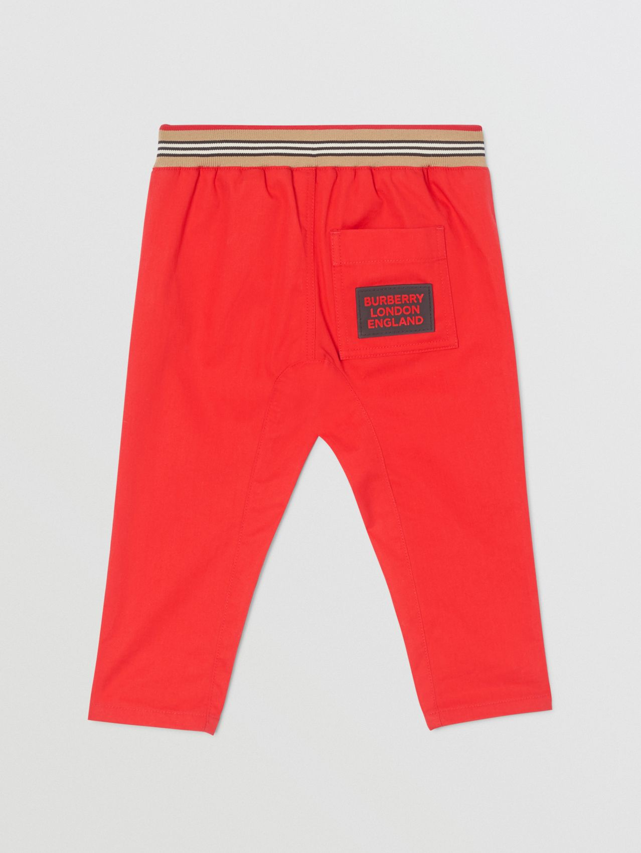 Icon Stripe Detail Cotton Twill Drawcord Trousers in Bright Red