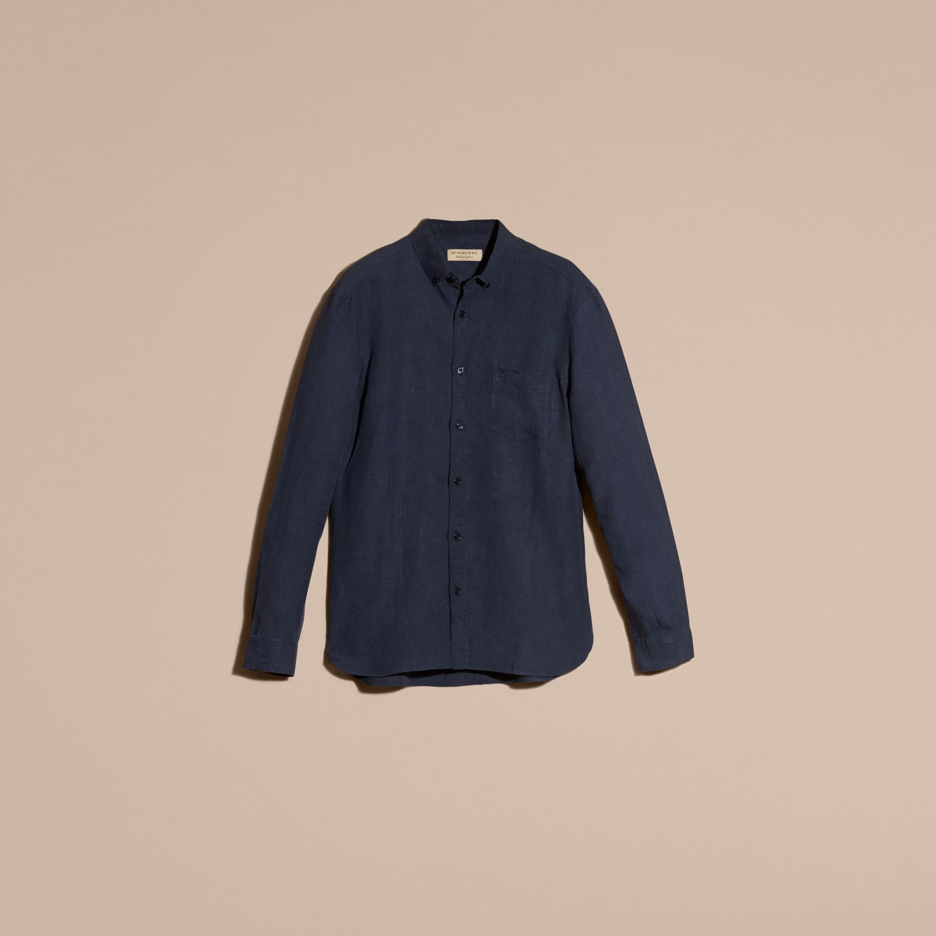 Navy Button-down Collar Linen Shirt Navy - gallery image 3