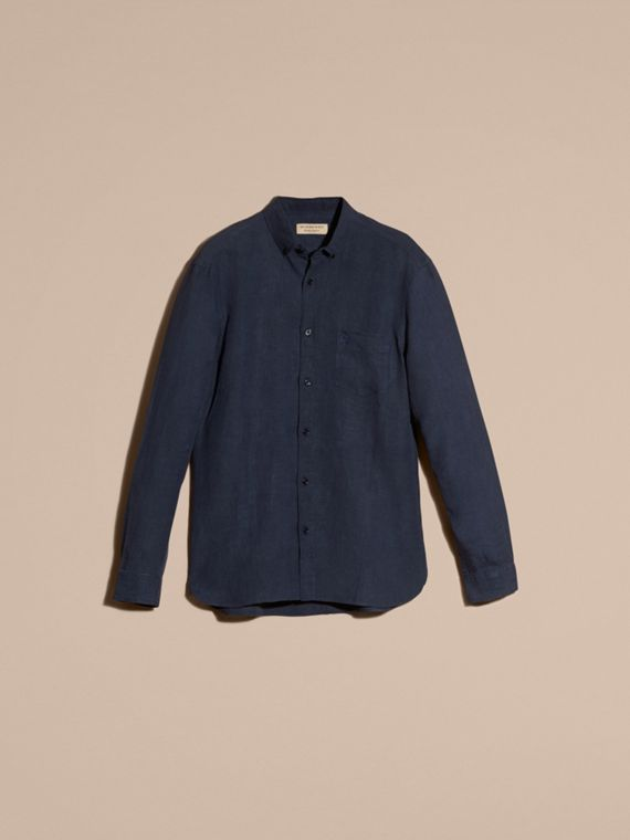 Navy Button-down Collar Linen Shirt Navy - cell image 2