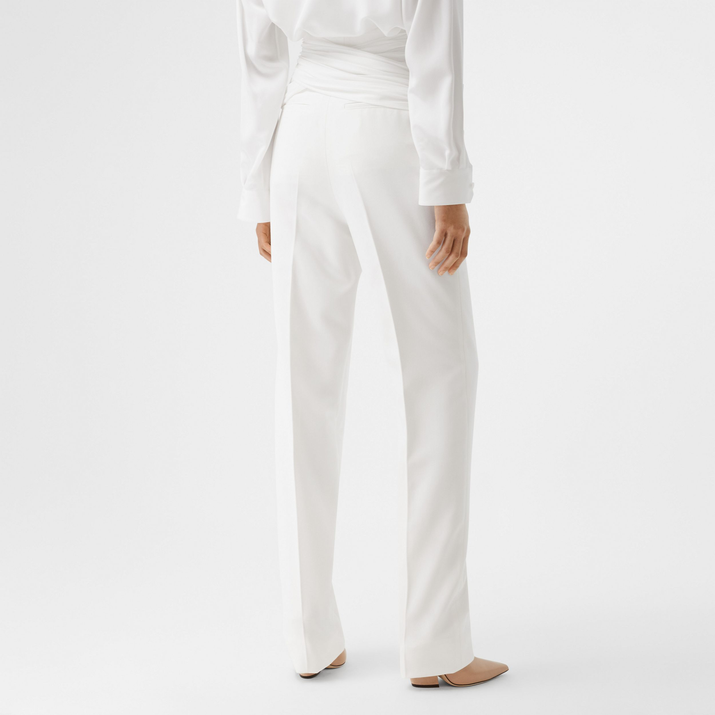 Sash Detail Technical Wool Tailored Trousers in Optic White - Women | Burberry - 3