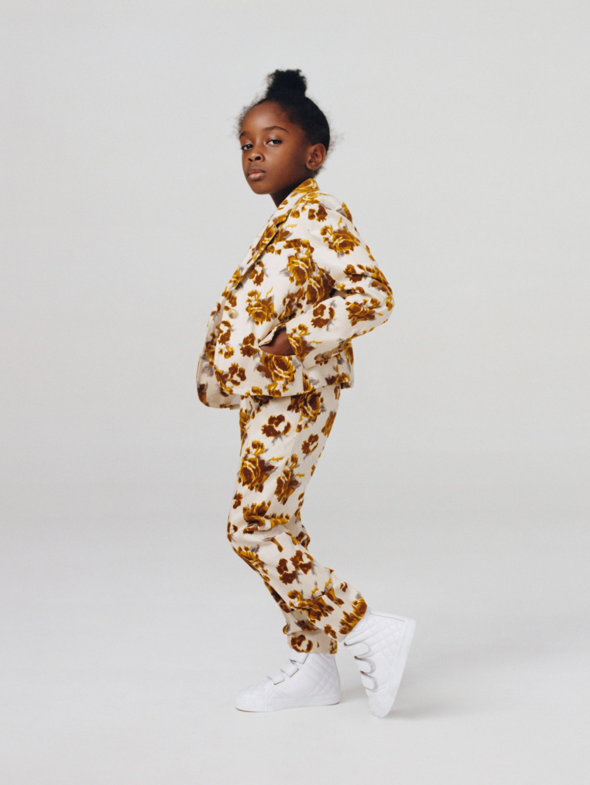 Floral Velvet Jacquard Trousers in Mustard Pattern - Children | Burberry - 3