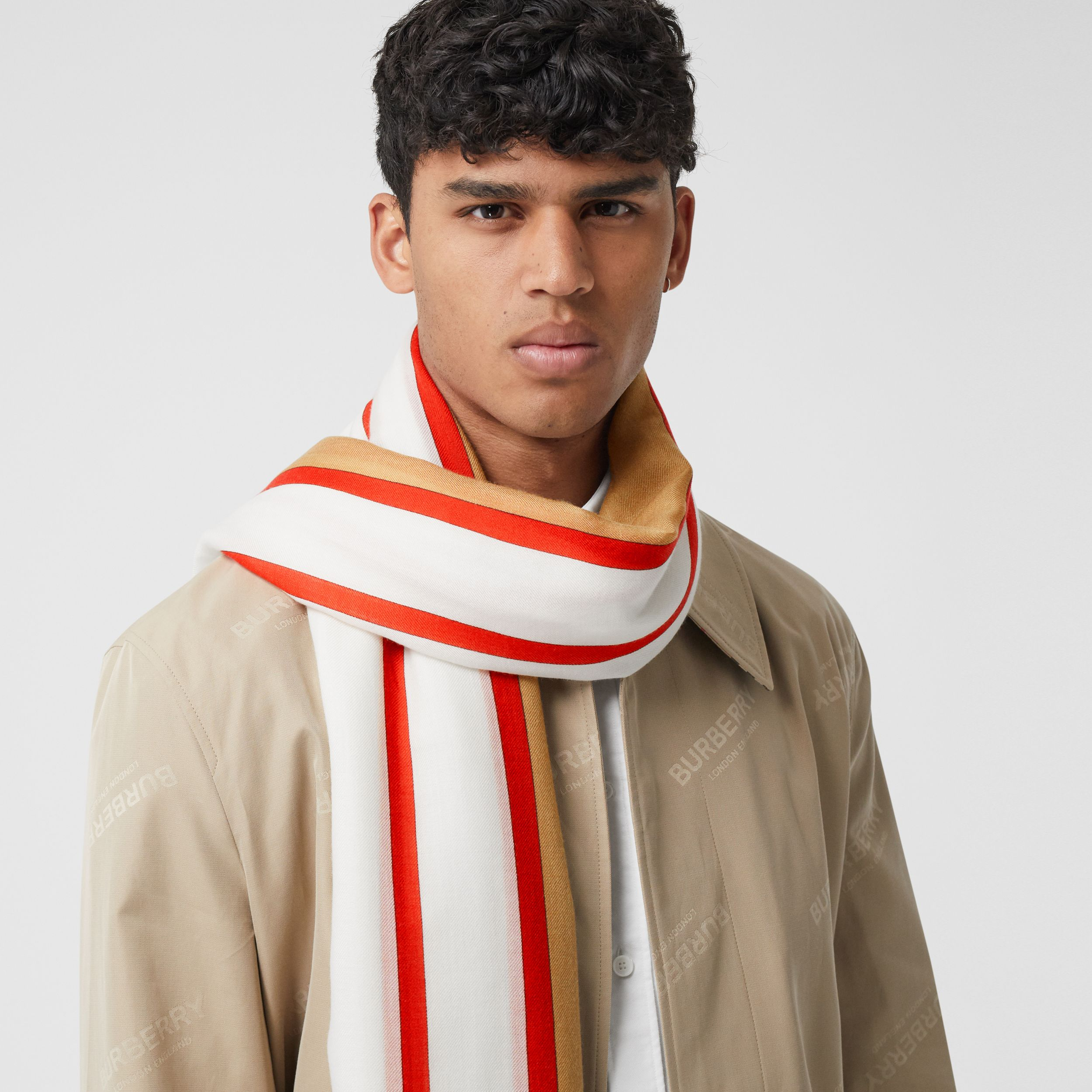 Archive Scarf Print Lightweight Cashmere Scarf in Honey | Burberry - 4