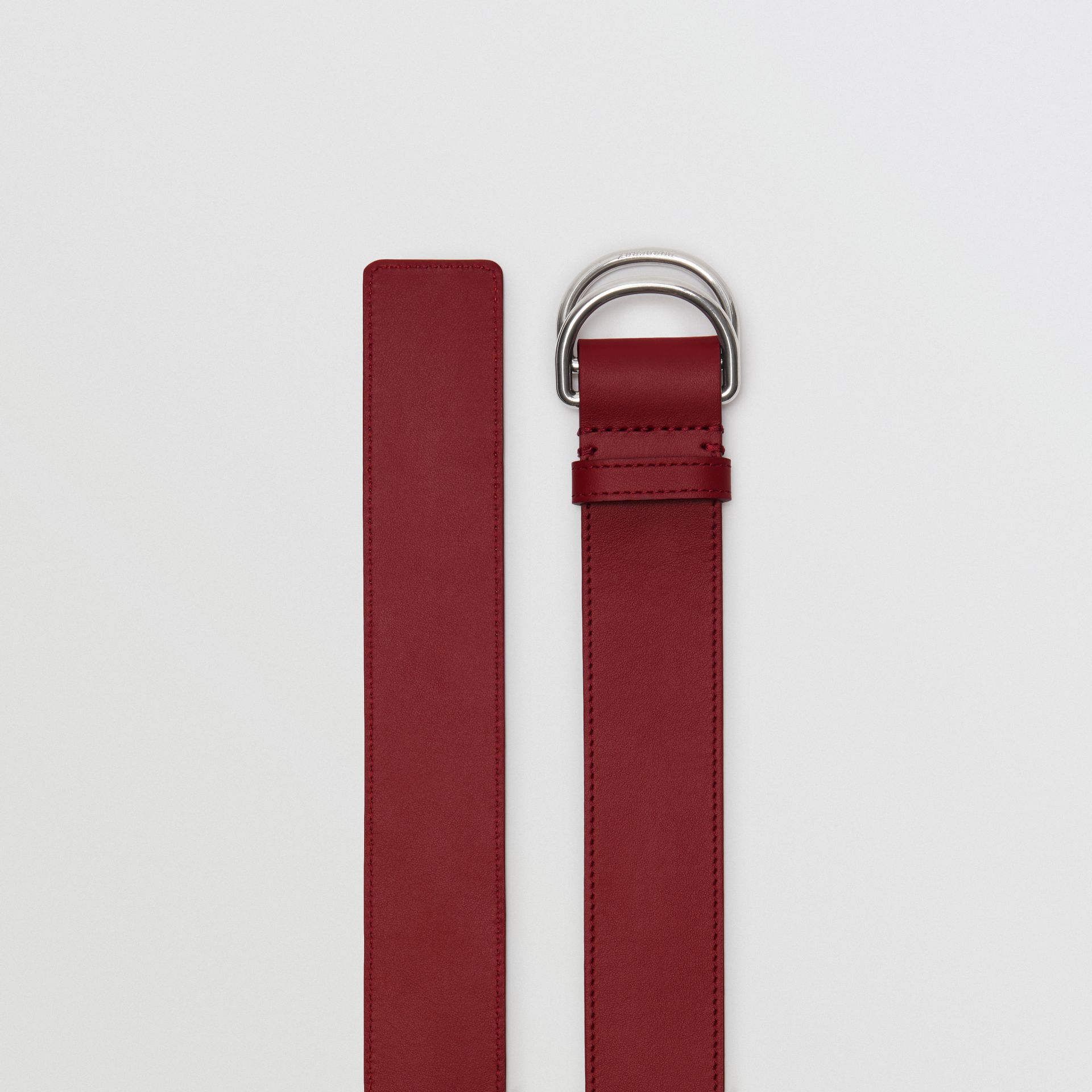 Leather Double D-ring Belt in Crimson/limestone - Women | Burberry United States - gallery image 4
