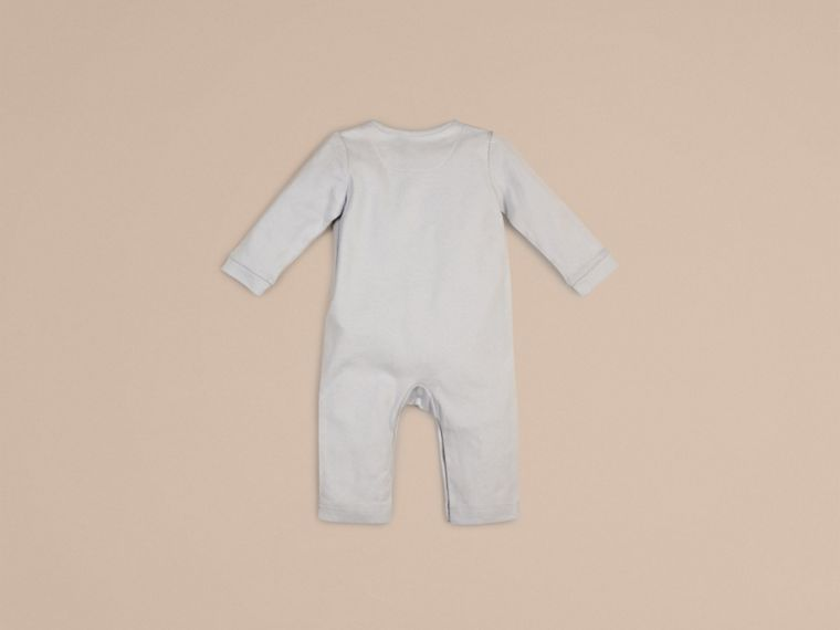 Check Trim Cotton Jumpsuit Ice Blue - cell image 2
