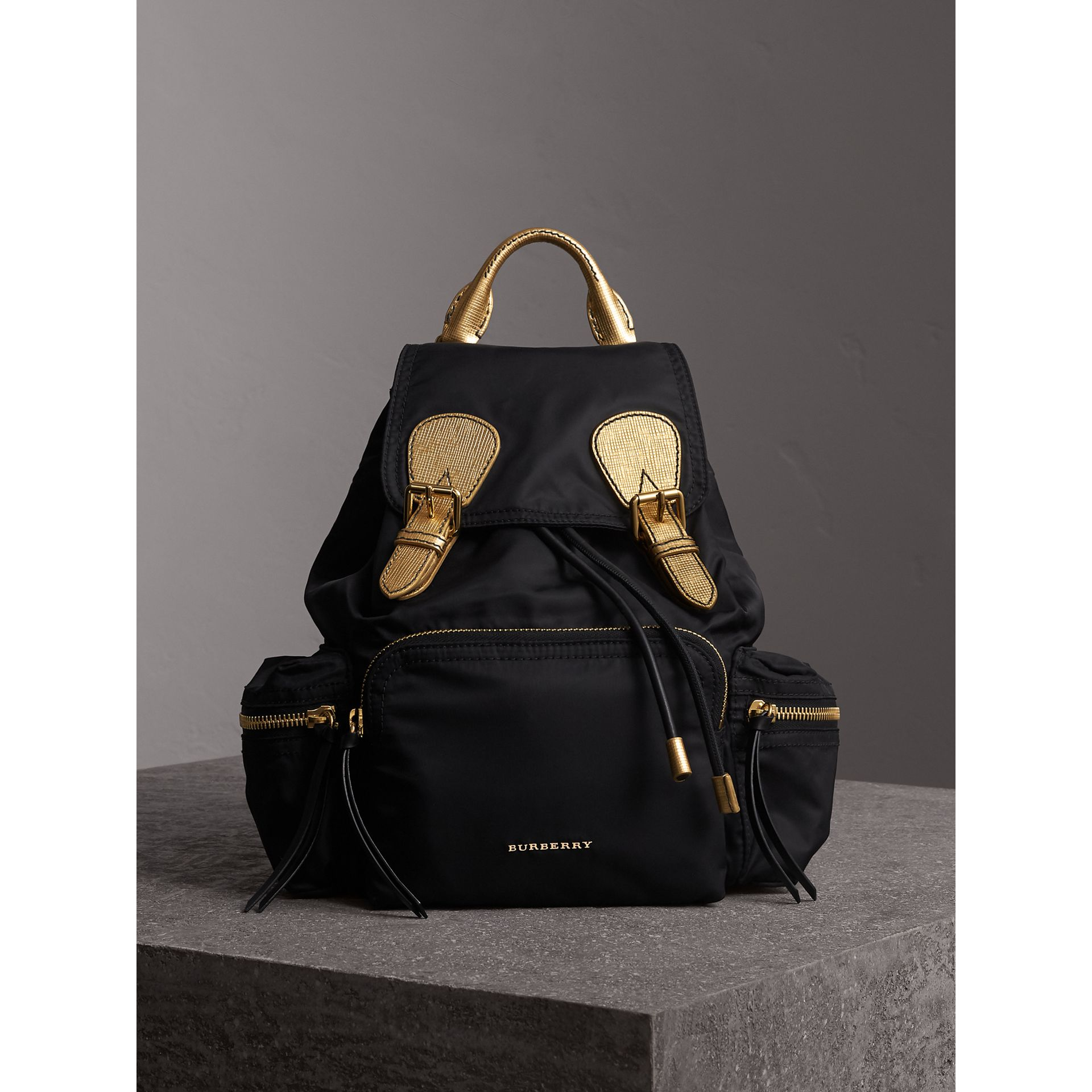The Medium Rucksack in Two-tone Nylon and Leather in Black/gold - Women | Burberry - gallery image 1