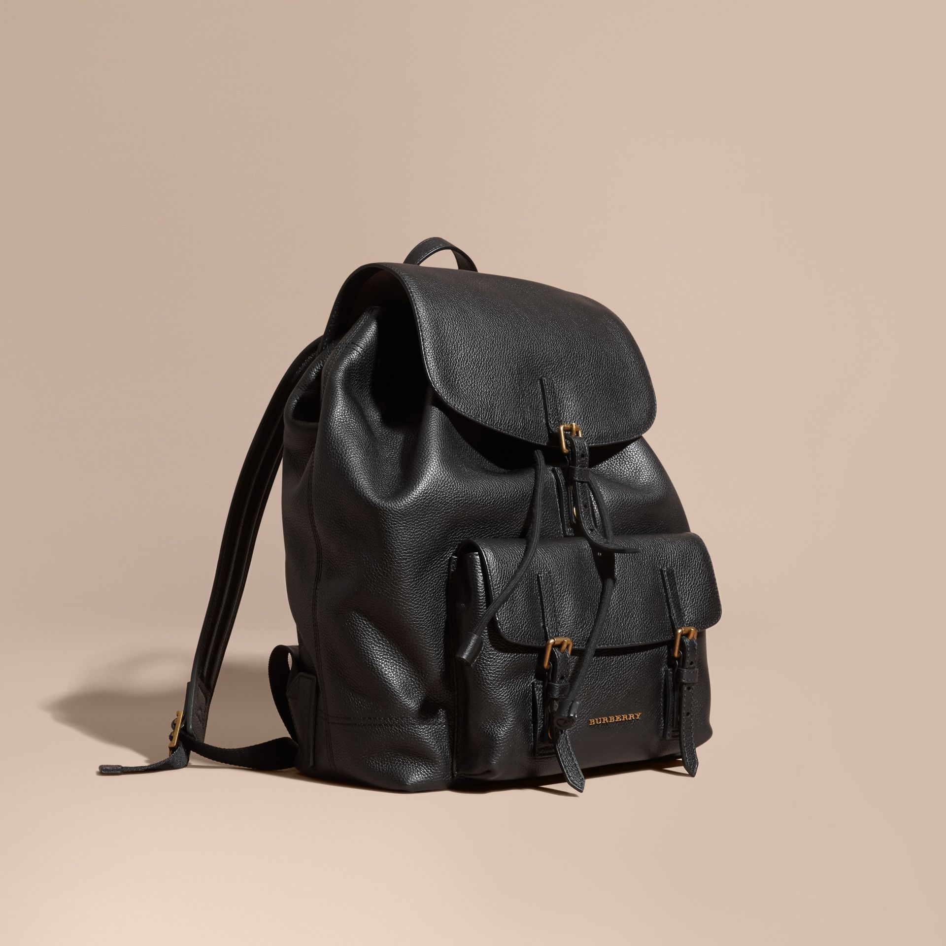 Black Grainy Leather Backpack - gallery image 1