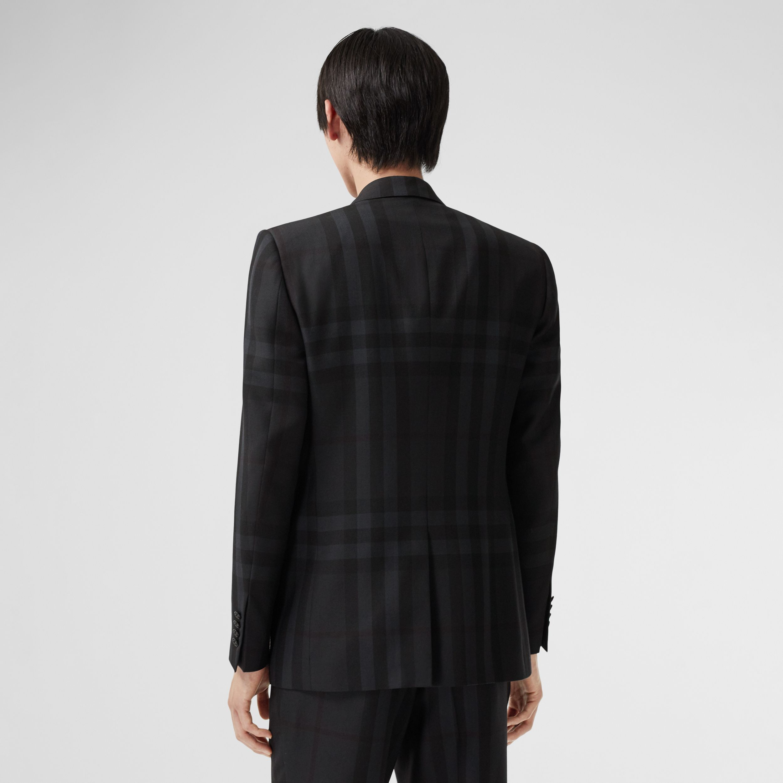 Classic Fit Check Wool Tailored Jacket in Charcoal - Men | Burberry - 3