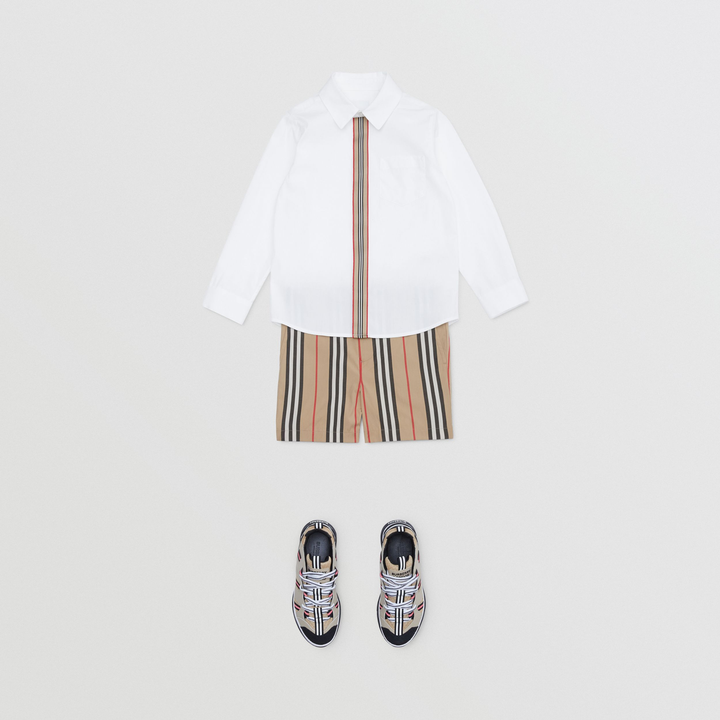 Icon Stripe Trim Stretch Cotton Shirt in White | Burberry - 3