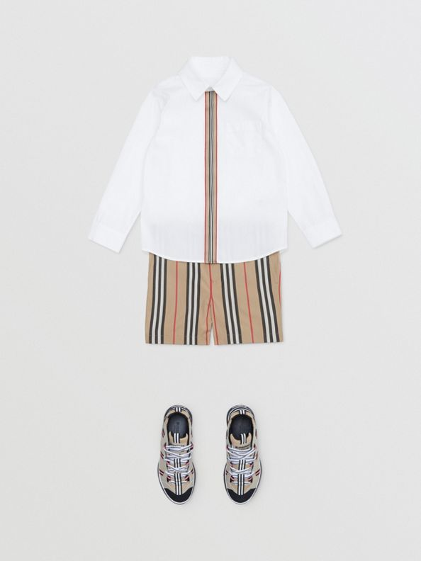 Icon Stripe Trim Stretch Cotton Shirt in White