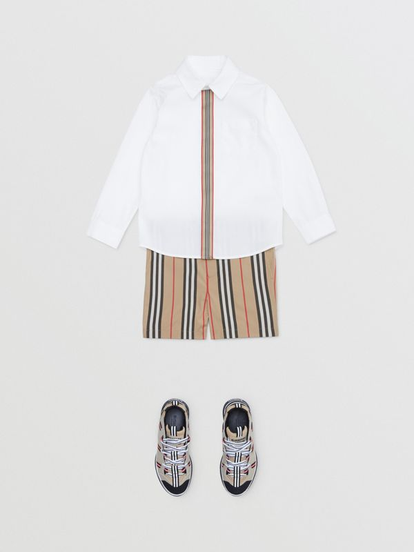 Icon Stripe Trim Stretch Cotton Shirt in White | Burberry United States - cell image 2