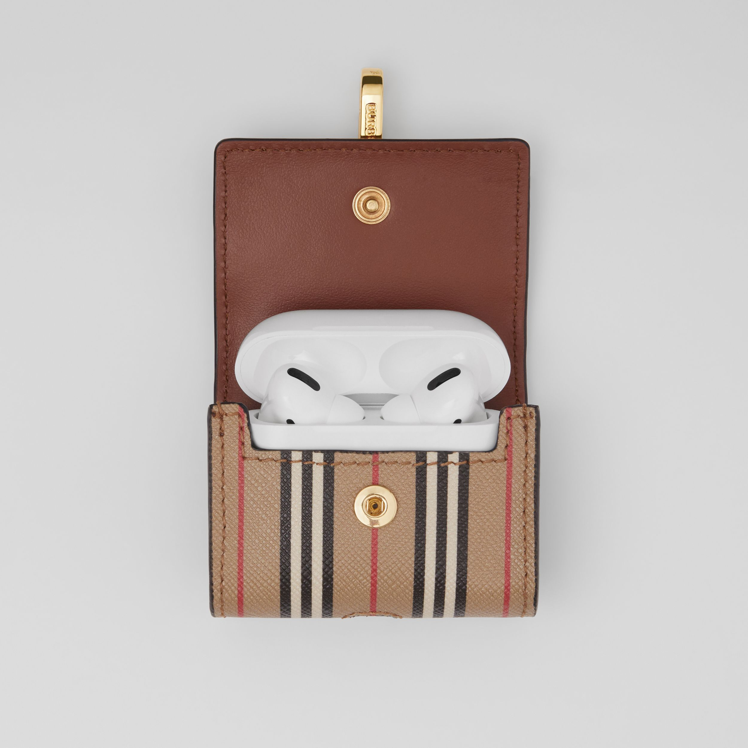 Custodia per AirPod Pro in e-canvas con iconico motivo a righe (Beige Archivio) | Burberry - 3