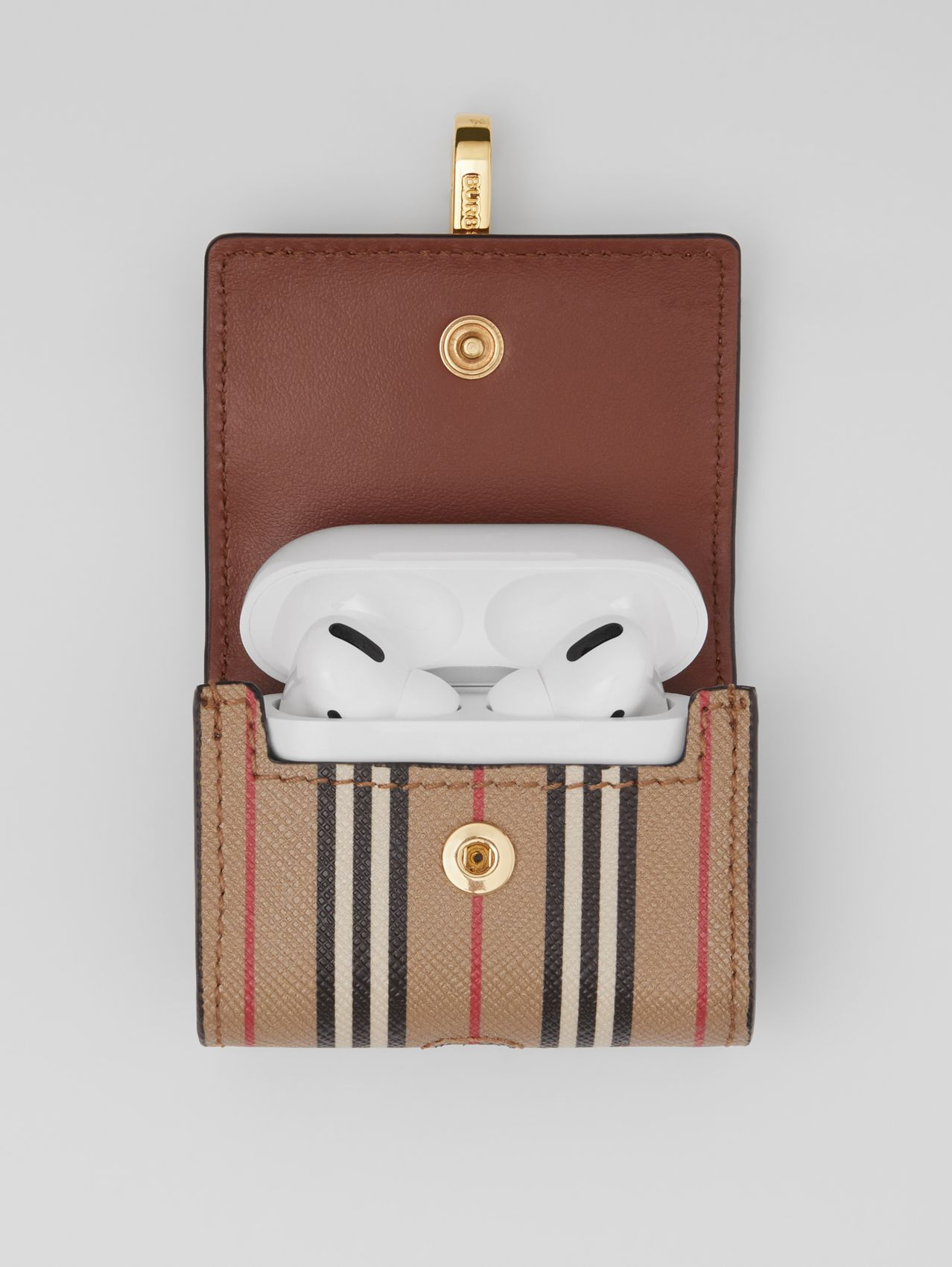 Custodia per AirPod Pro in e-canvas con iconico motivo a righe (Beige Archivio)