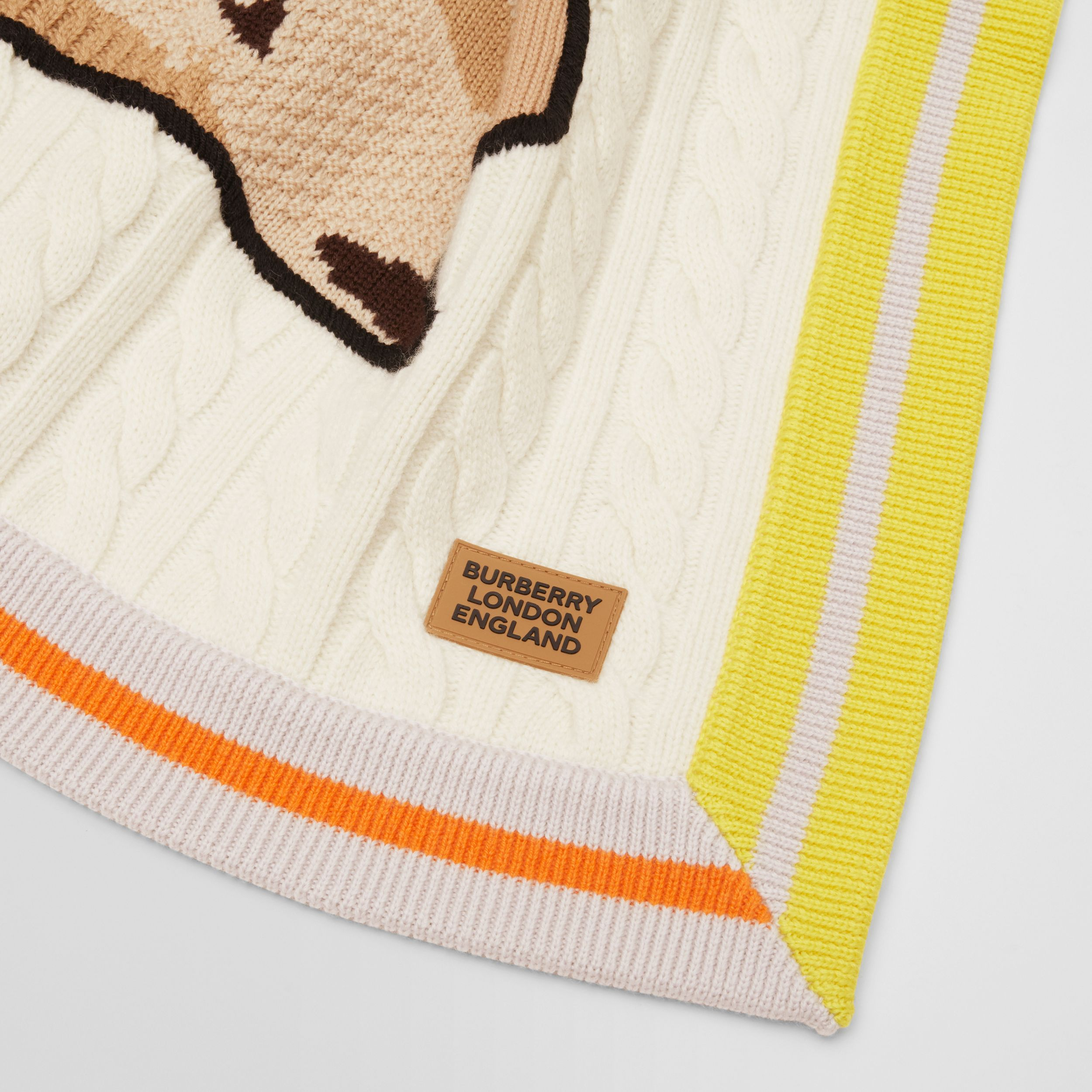 Deer Motif Wool Cashmere Baby Blanket in Ivory - Children | Burberry - 4