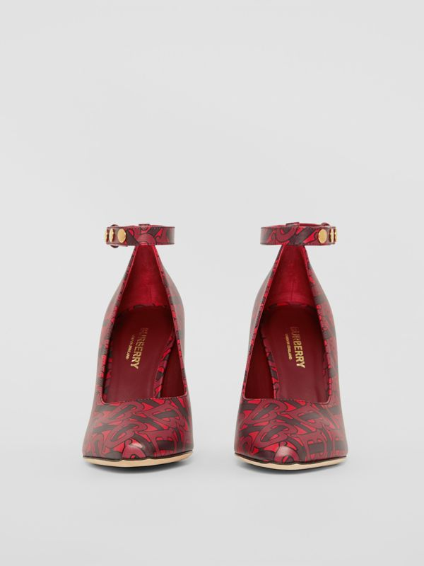 Triple Stud Monogram Print Leather Point-toe Pumps in Crimson - Women | Burberry Australia - cell image 3