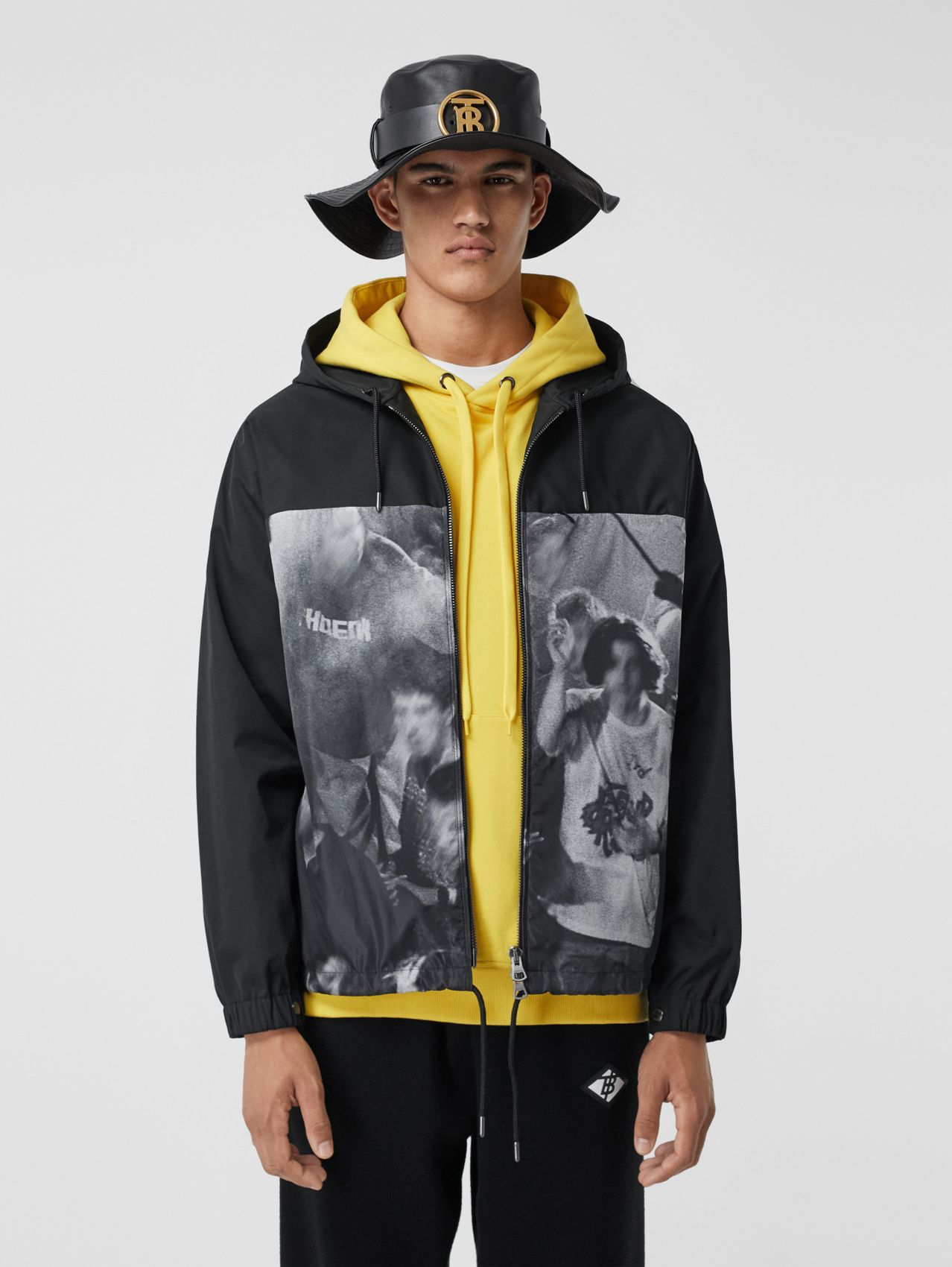 Rave Print Nylon Hooded Jacket in Monochrome