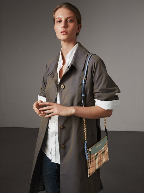 Haymarket Check and Two-tone Leather Clutch Bag in Eucalyptus Green/multicolour - Women | Burberry - cell image 2