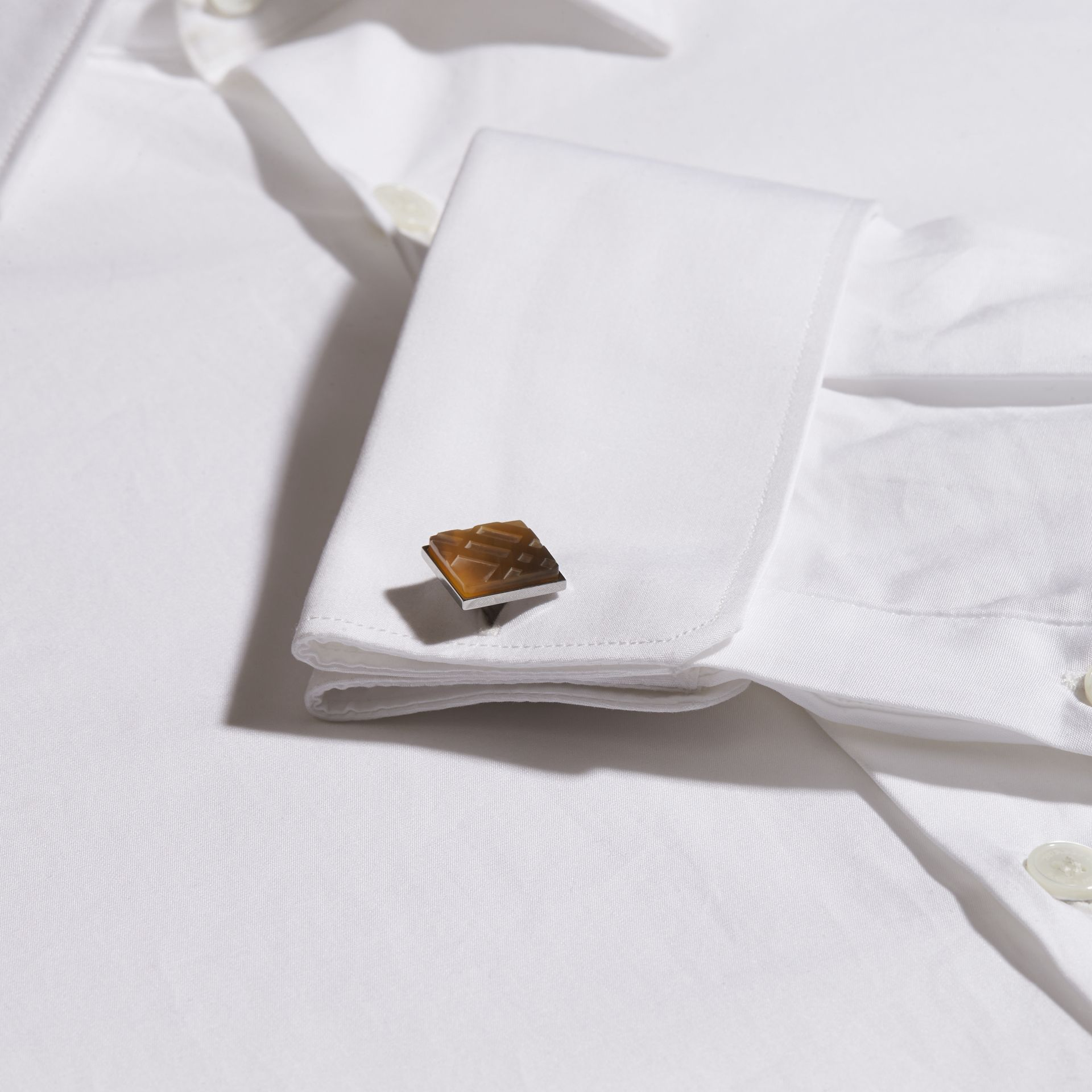 Brown Check-engraved Square Cufflinks - gallery image 2