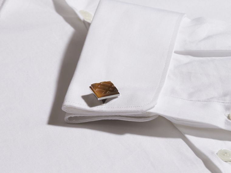 Brown Check-engraved Square Cufflinks - cell image 1