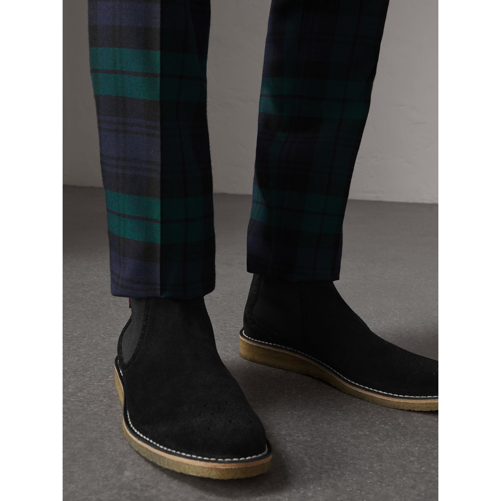 Brogue Detail Suede Chelsea Boots in Black - Men | Burberry United Kingdom - gallery image 3