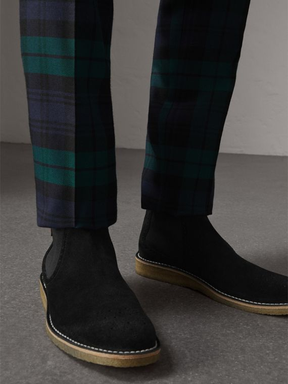 Brogue Detail Suede Chelsea Boots in Black - Men | Burberry United Kingdom - cell image 2