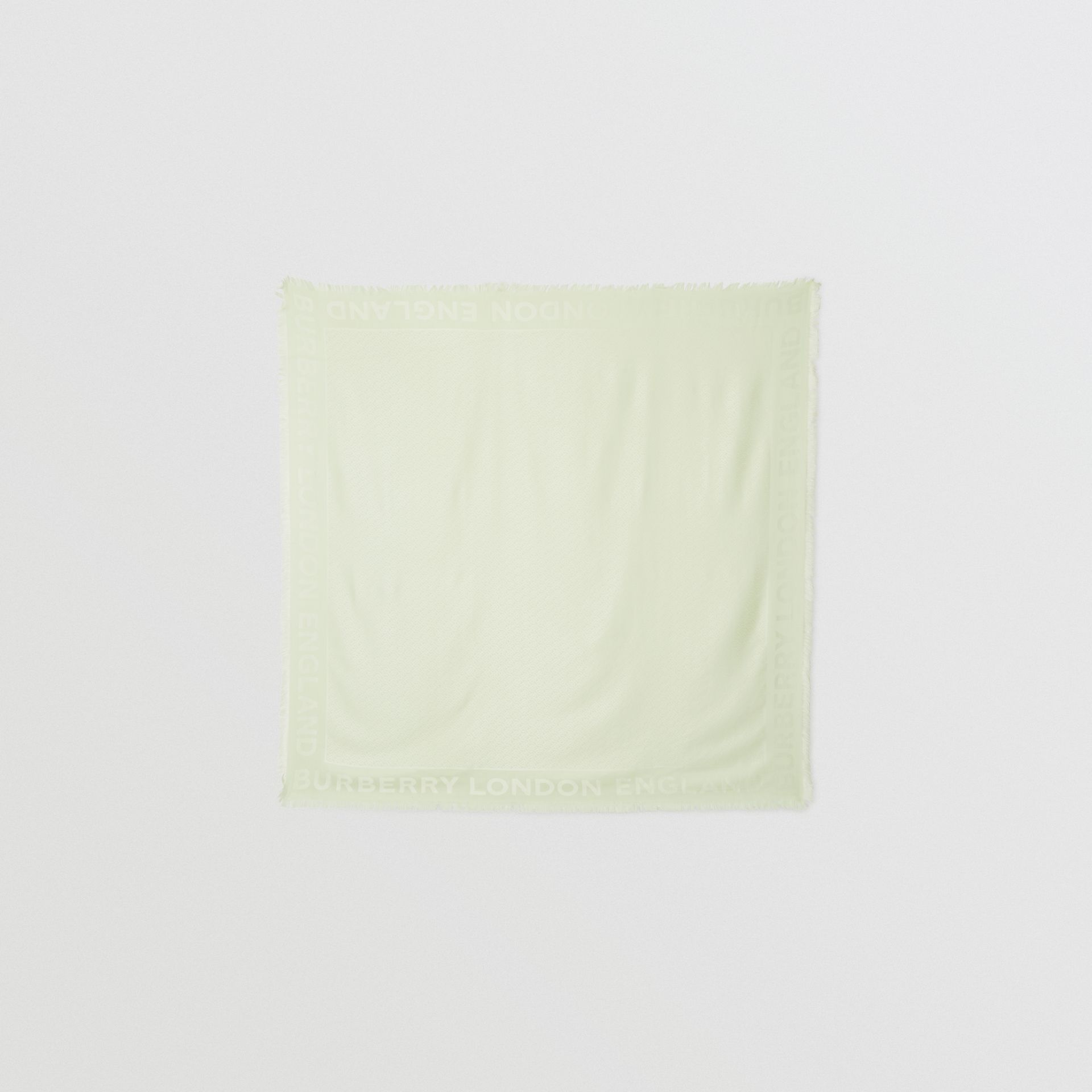 Monogram Silk Wool Jacquard Large Square Scarf in Pistachio | Burberry - gallery image 0