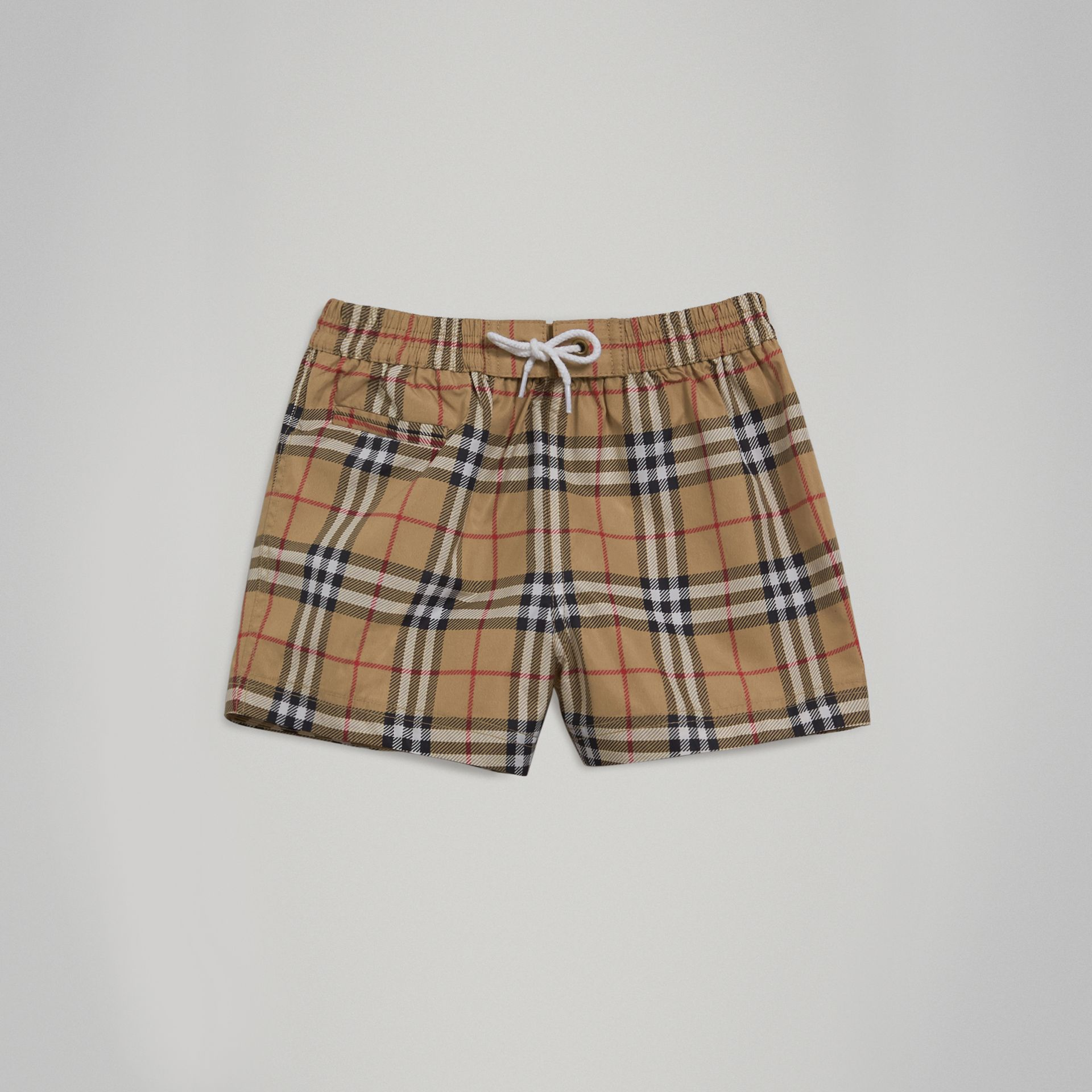 Short de bain à motif check (Camel) - Enfant | Burberry Canada - photo de la galerie 0