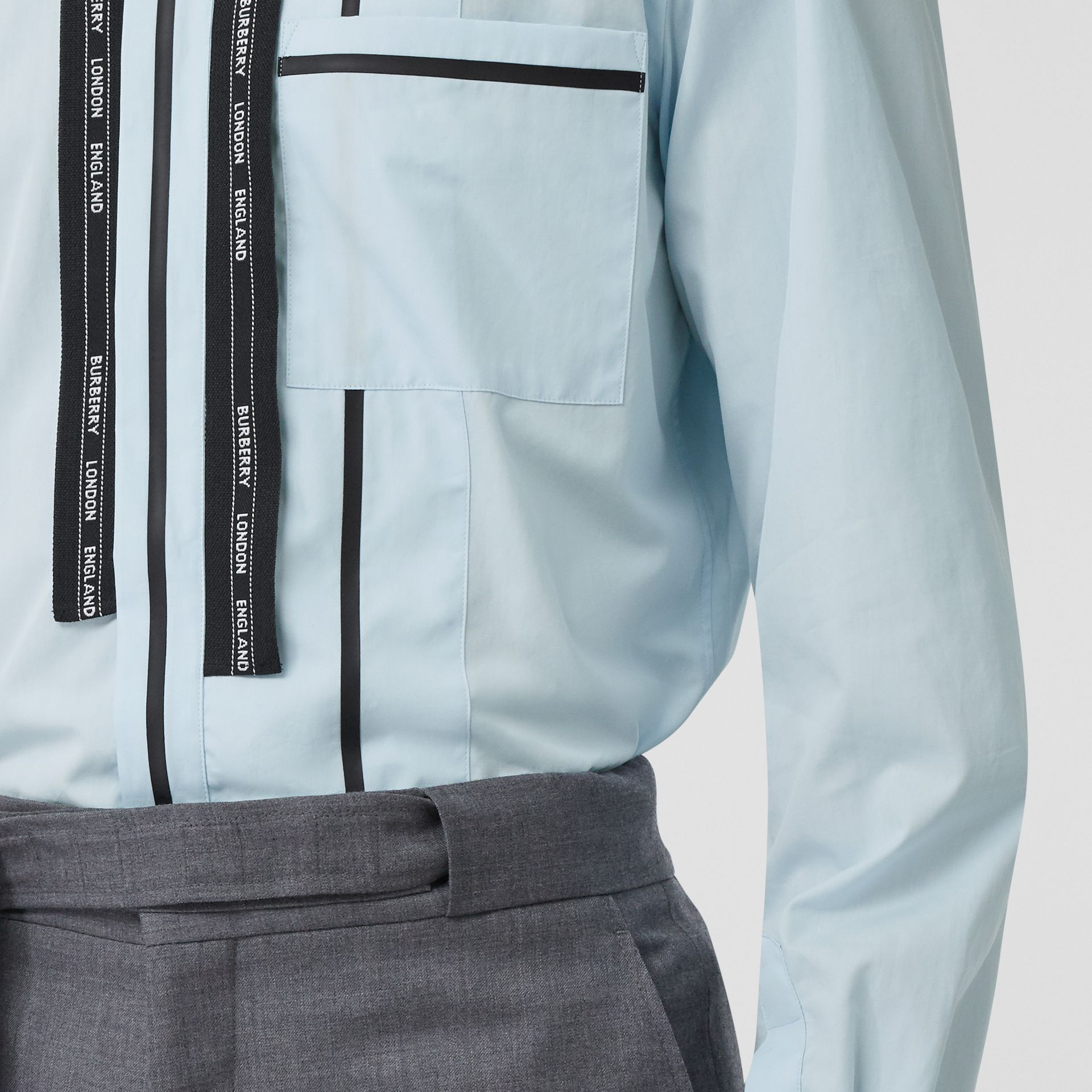 Classic Fit Logo Tape Detail Cotton Poplin Shirt in Pale Blue | Burberry - gallery image 4