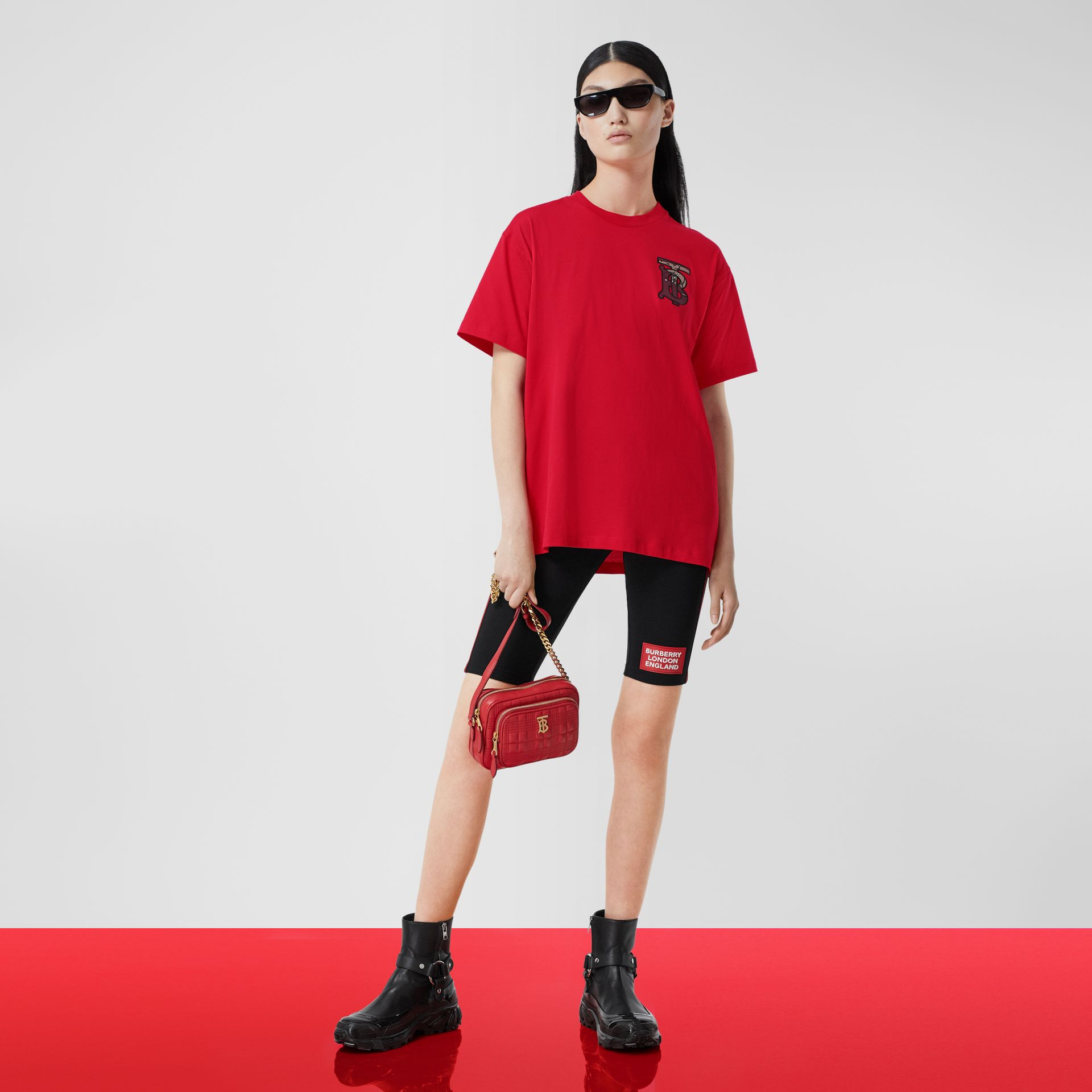 Monogram Motif Cotton Oversized T-shirt in Bright Red - Women | Burberry United Kingdom - gallery image 5
