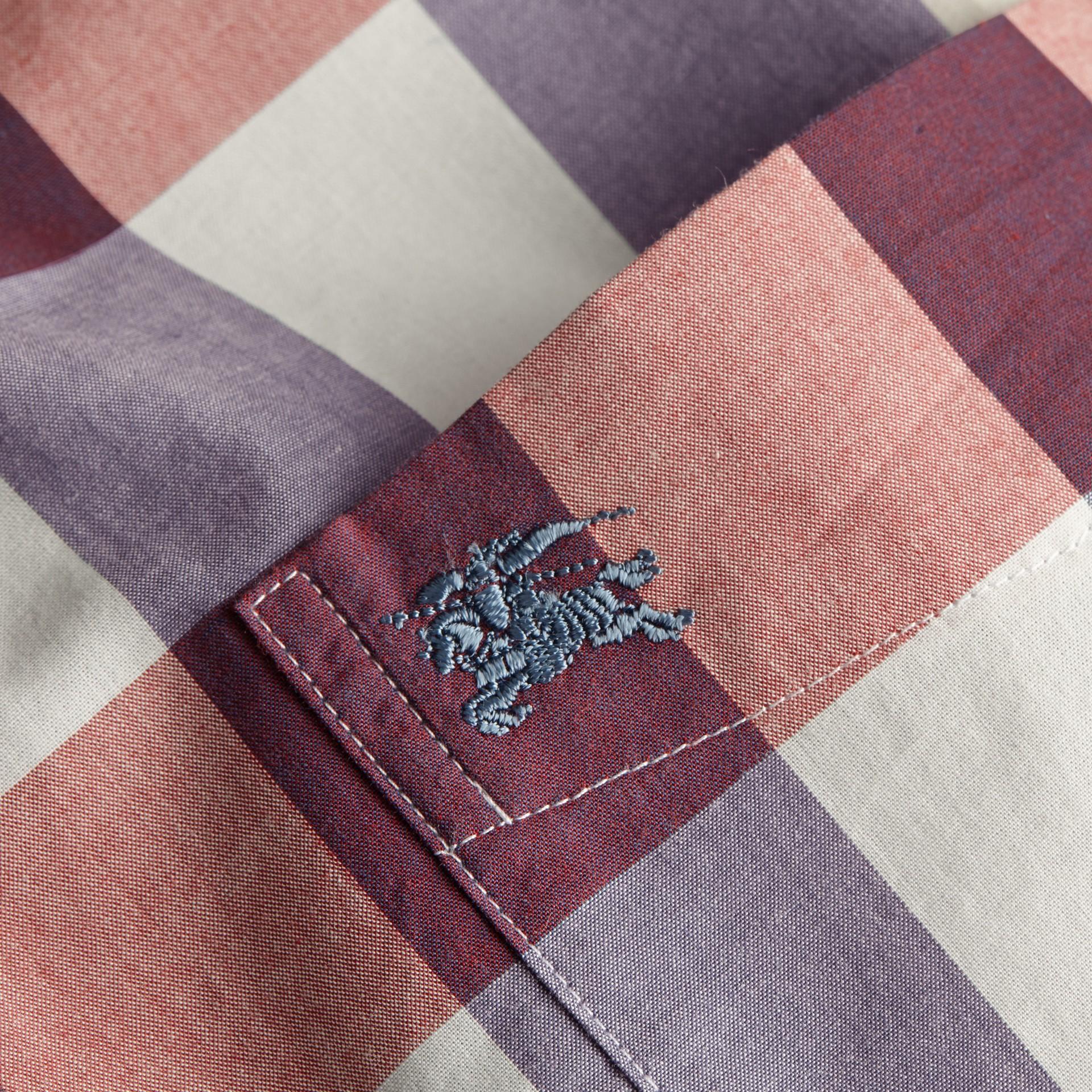 Cuivre rose clair Chemise vichy en coton à col boutonné Cuivre Rose Clair - photo de la galerie 2