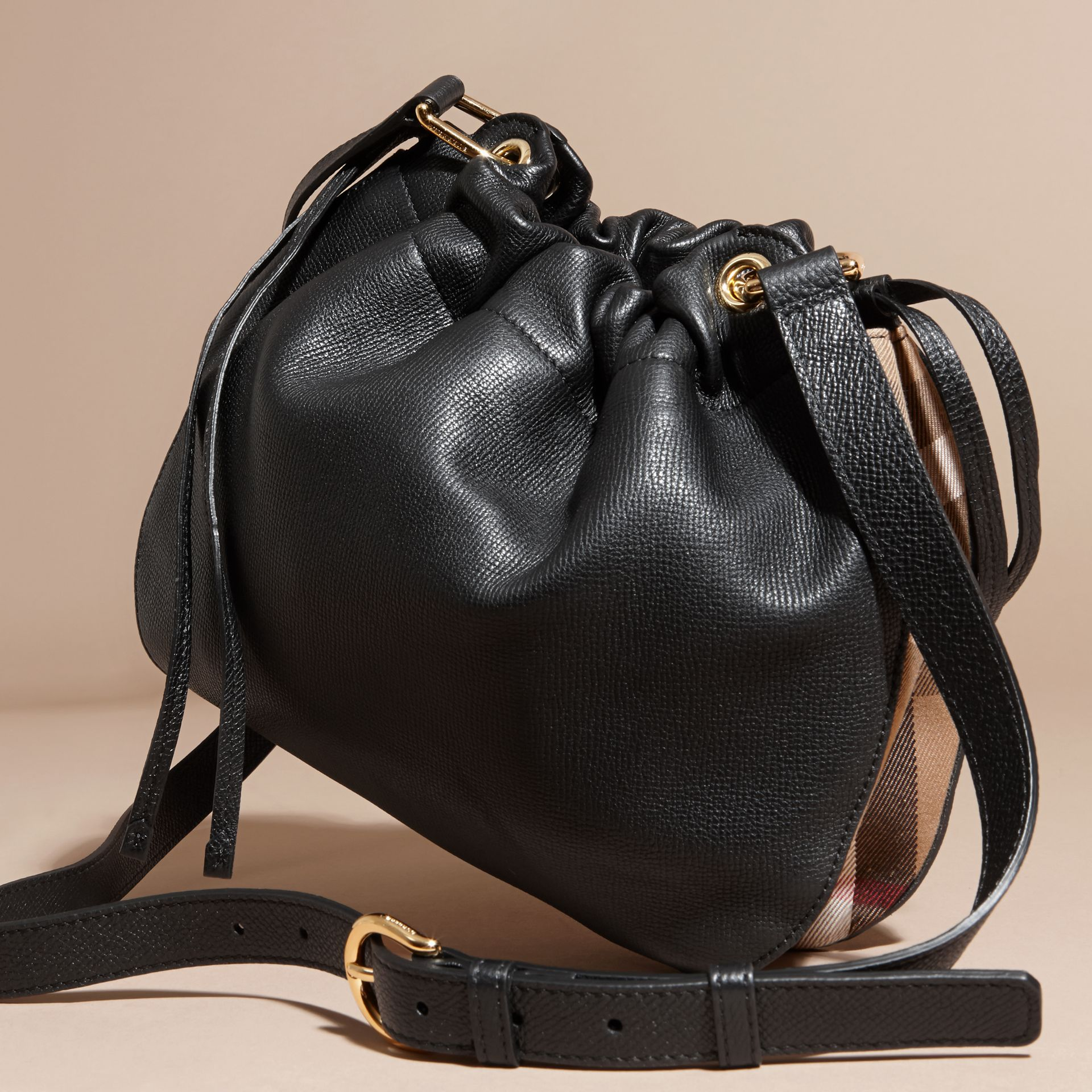 Black Grainy Leather and House Check Crossbody Bag Black - gallery image 4