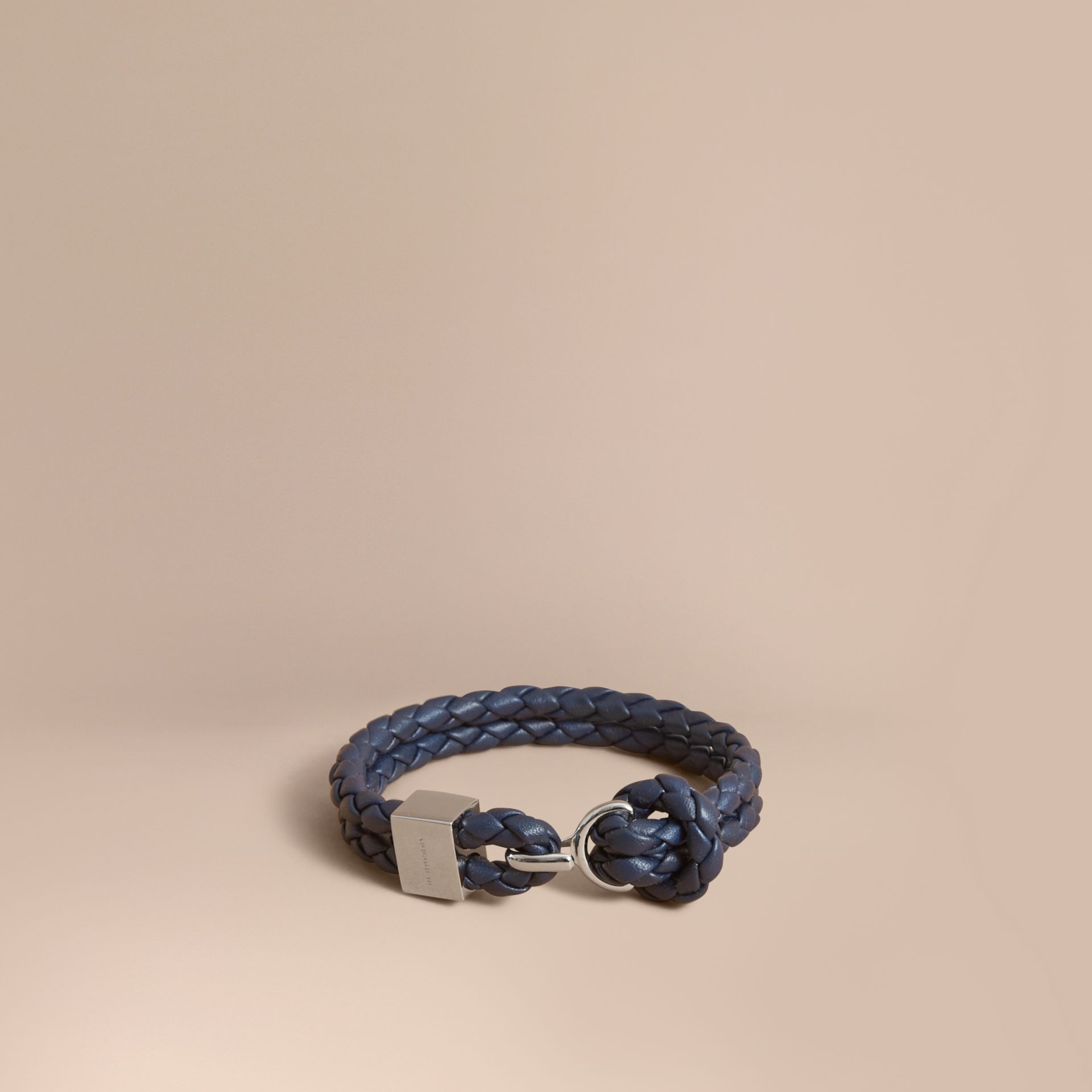 Braided Leather Bracelet Navy - gallery image 1