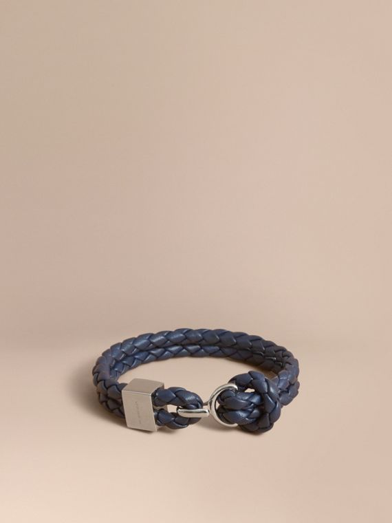 Braided Leather Bracelet Navy