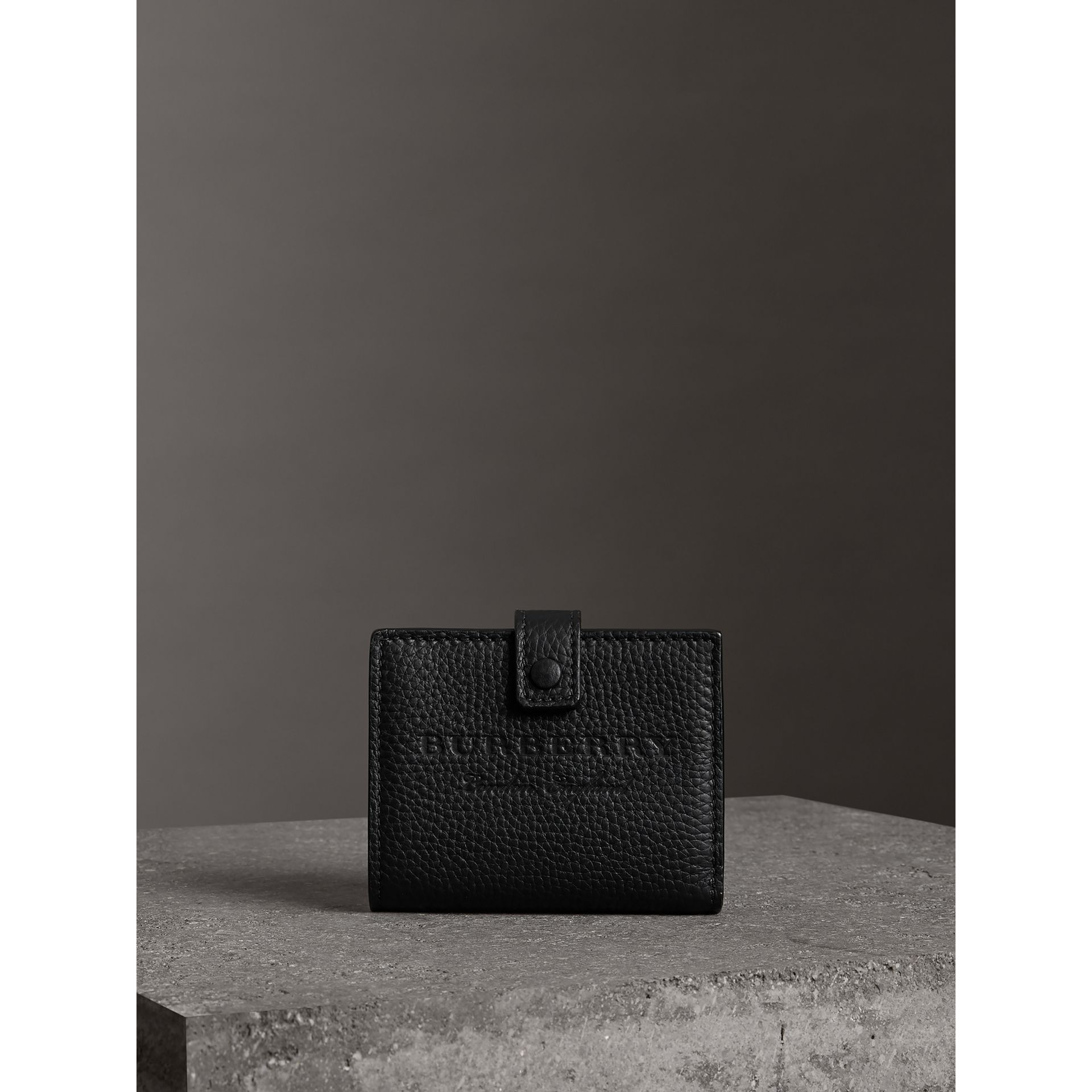 Embossed Leather Folding Wallet in Black - Women | Burberry - gallery image 4